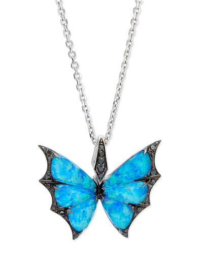 Fly By Night Opalescent Quartz Bat-Moth Pendant Necklace