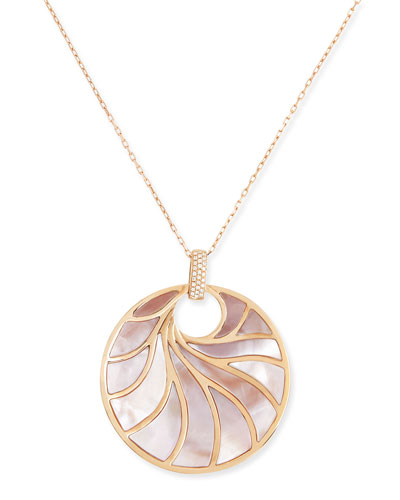 Frederic Sage Large 18k Rose Gold, Pink Mother-of-Pearl & Diamond Pendant Necklace