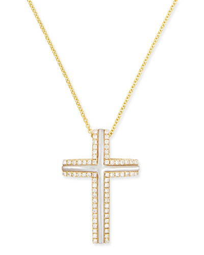 Large 18k Yellow Gold Cross Necklace with Mother-of-Pearl & Diamonds