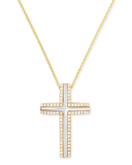 Frederic Sage Large 18k Yellow Gold Cross Necklace with Mother-of-Pearl & ...