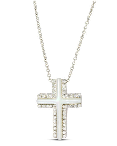 Frederic Sage Small 18k White Gold Cross Necklace with Mother-of-Pearl & Diamonds