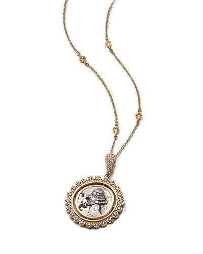 COOMI Antiquity 20k Scalloped Coin Pendant Necklace with Diamonds