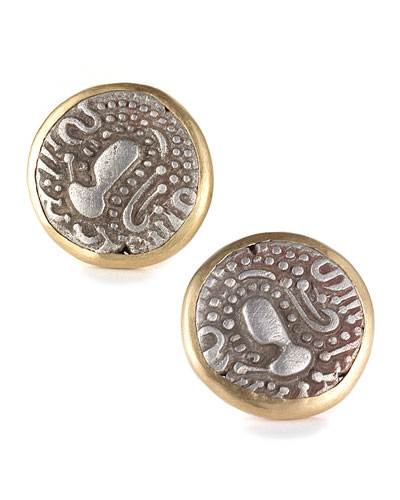 COOMI Antiquity 20k Coin Plain Stud Earrings