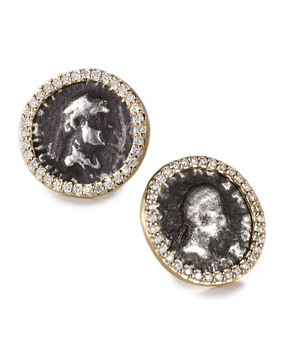 COOMI Antiquity 20k Coin Stud Earrings with Diamonds