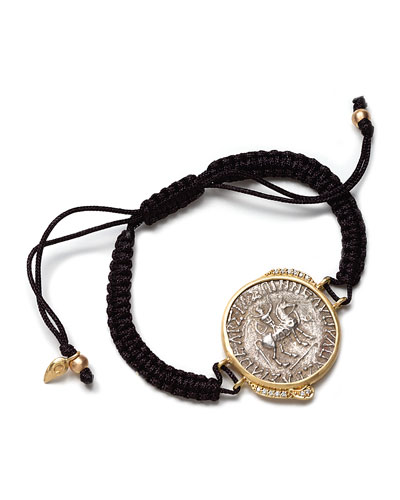 COOMI Antiquity 20k Coin Braided Bracelet with Diamonds