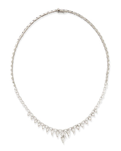 Stephen Webster Magnipheasant 18k White Gold Pave Diamond Short-Drop Collar Necklace
