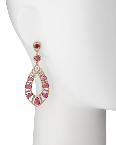 18k Rose Gold Pink Tourmaline & Diamond Teardrop Earrings