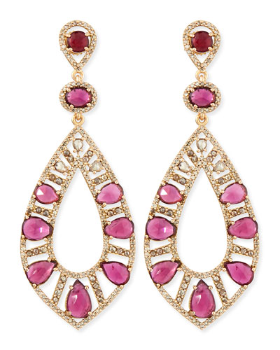 18k Rose Gold Pink Tourmaline & Diamond Teardrop Earrings