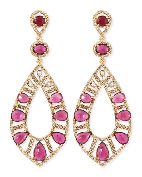 Bavna 18k Rose Gold Pink Tourmaline & Diamond Teardrop Earrings