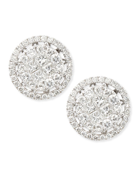 Round Diamond Stud Earrings with Illusion Setting and Single Halo