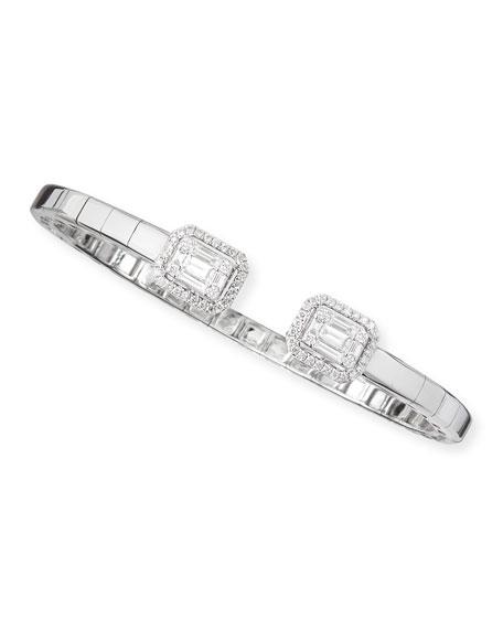 Platinum Heart 18k White Gold Emerald-Cut Diamond Bangle