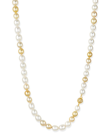 Belpearl Golden & White Opera Pearl Necklace with Diamond Clasp