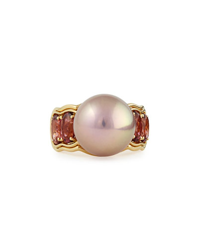 Aura 18k Gold Ring with Pink Tourmaline & Kasumiga Pearl