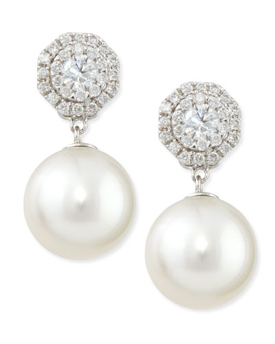 Belpearl Whispering Diamond Stud Earrings with Pearl Drops