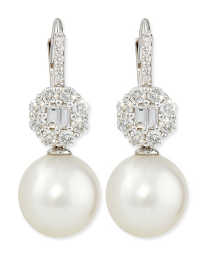 Octagon Diamond & White South Sea Pearl Earrings