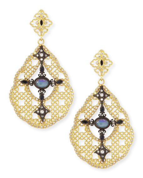 Old World Mesh Opal, Diamond & Sapphire Earrings