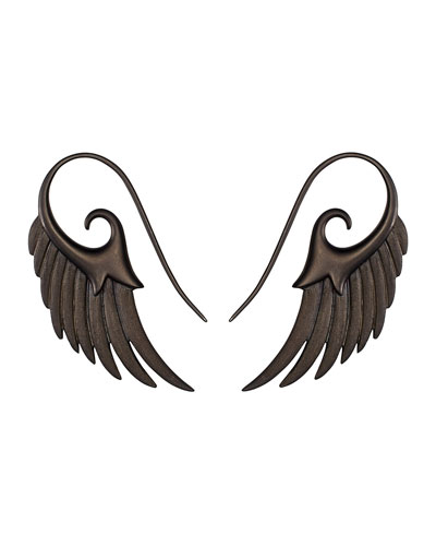 Noor Fares Fly Me To The Moon Wing Earrings in Black Rhodium Silver