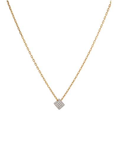 Noor Fares Geo 101 White Gold Diamond Cube Pendant Necklace