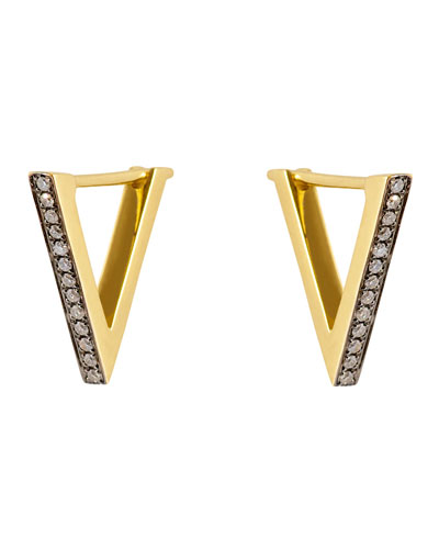 Noor Fares Geo 101 Yellow Gold Diamond Triangle Earrings
