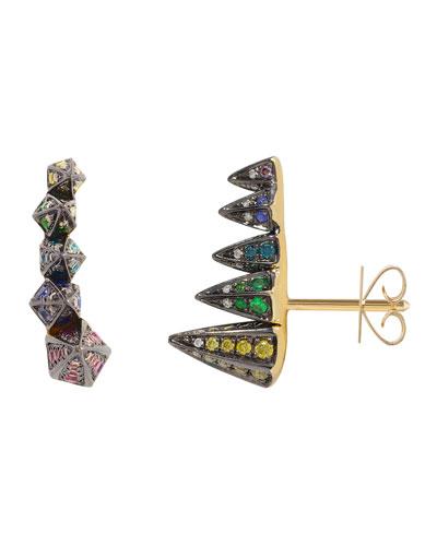 Geo 101 Multi-Stone Rainbow Stud Earrings