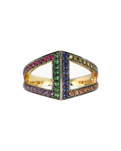 Noor Fares Geo 101 Multi-Stone Rainbow Rhombus Pinkie Ring