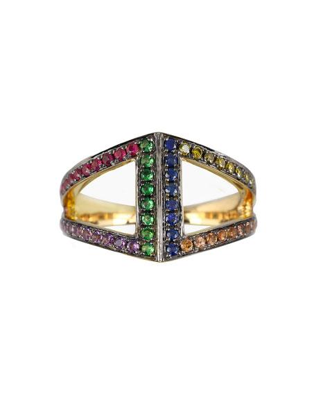 Noor Fares Geo 101 Multi-Stone Rainbow Rhombus Pinkie