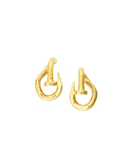 18k Polished Bent Nail Earrings