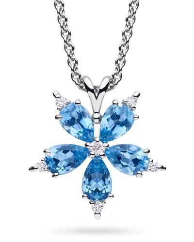 Stellanise Medium Aquamarine & Diamond Pendant Necklace