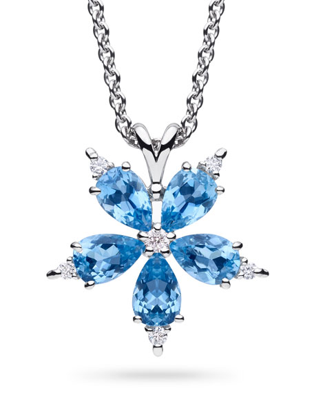 Stellanise Medium Aquamarine & Diamond Pendant Necklace
