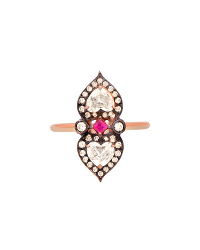 Sabine G 18k Rose Gold Double-Heart Ring with Ruby & Diamonds
