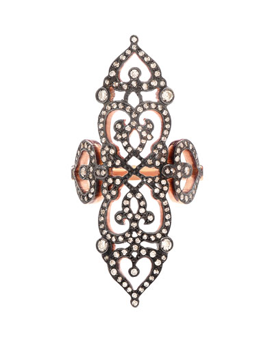 Sabine G 18k Rose Gold Cross Ring with Diamonds