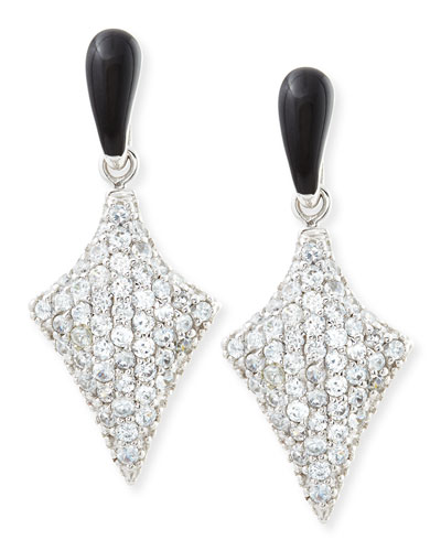 MCL by Matthew Campbell Laurenza Art Deco Black Enamel & White Zircon Pave Arrow Earrings