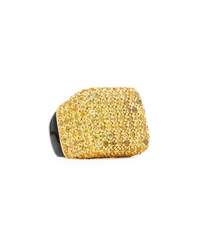 Pave Yellow Sapphire & Enamel Cube Ring