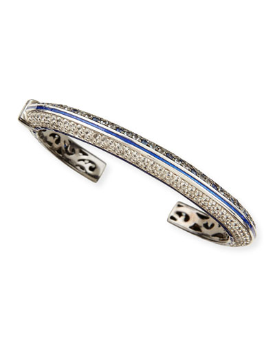 M.c.l. Design By Matthew Campbell Pave White Zircon & Ice Blue Sapphire Cuff