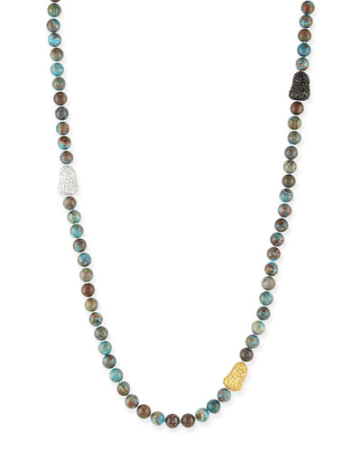 Chrysocolla & Pave Ball Necklace, 38