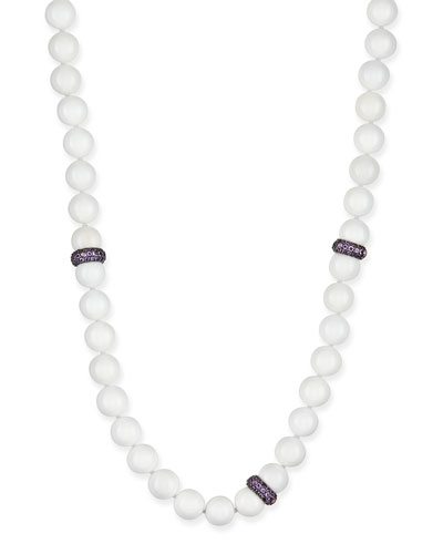 MCL by Matthew Campbell Laurenza White Agate Beaded Necklace with Pave Amethyst