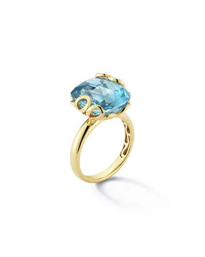 Sealeaf Collection 18k Yellow Gold & Blue Topaz Earrings
