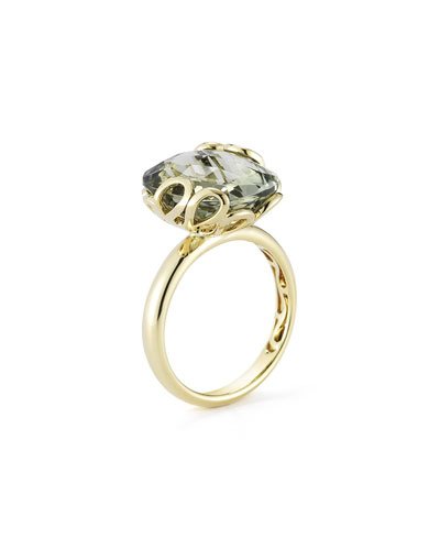 18k Gold Sea Leaf Green Amethyst Ring, Size 6