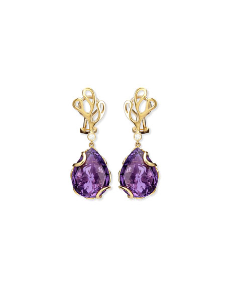 Sealeaf Collection Amethyst Drop Earrings