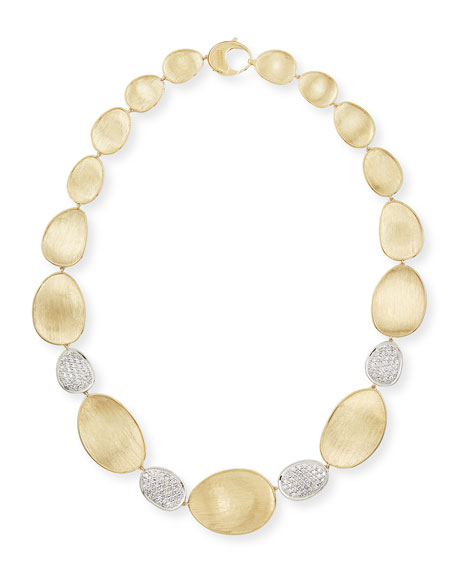 Diamond Lunaria 18k Gold 4-Pave Necklace, 18