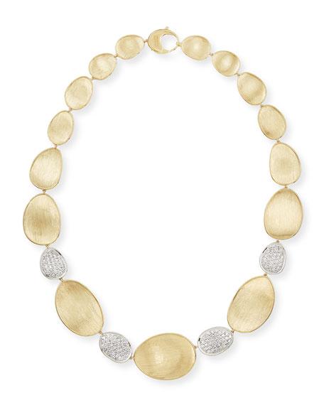 "Diamond Lunaria 18k Gold 4-Pave Necklace, 18""L"