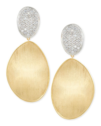 Large Diamond Lunaria 18k Gold Double-Drop Earrings