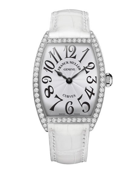 Ladies Curvex Diamond Watch with Alligator Strap