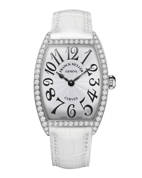 Ladies Curvex Diamond Watch with Alligator Strap