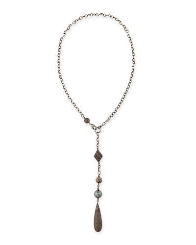 Silver Y Necklace with Diamonds and Tahitian Pearl