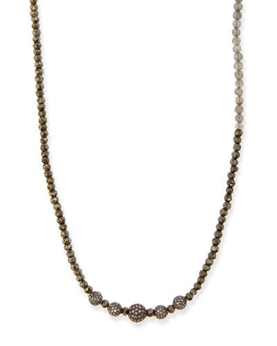 Pyrite & Labradorite Necklace with Pave Diamonds, 44