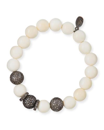 10mm Bone & Pave Diamond Beaded Bracelet