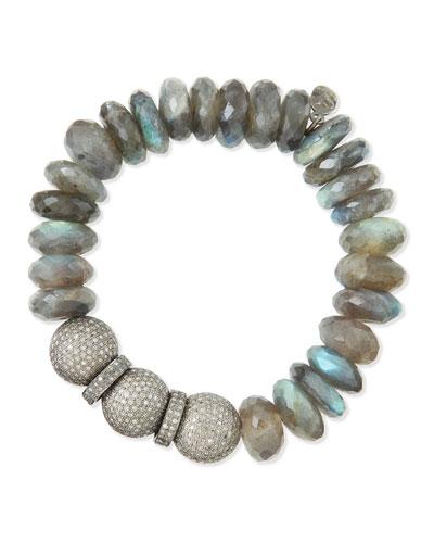 14mm Labradorite & Pave Diamond Beaded Bracelet