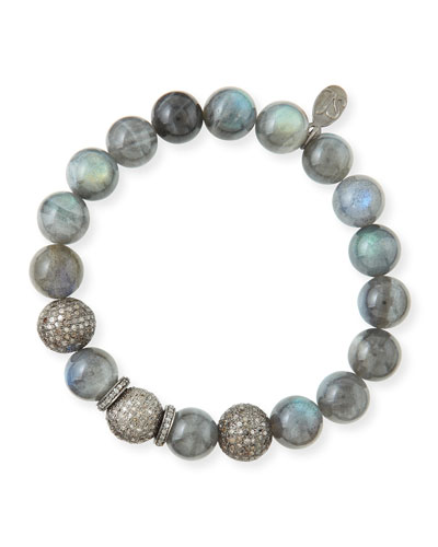10mm Labradorite & Pave Diamond Beaded Bracellet