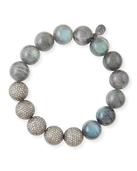 12mm Labradorite & Pave Diamond Beaded Bracelet